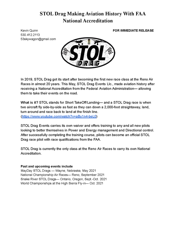 Click image for larger version.  Name:STOL Press Release.png Views:259 Size:175.0 KB ID:56725